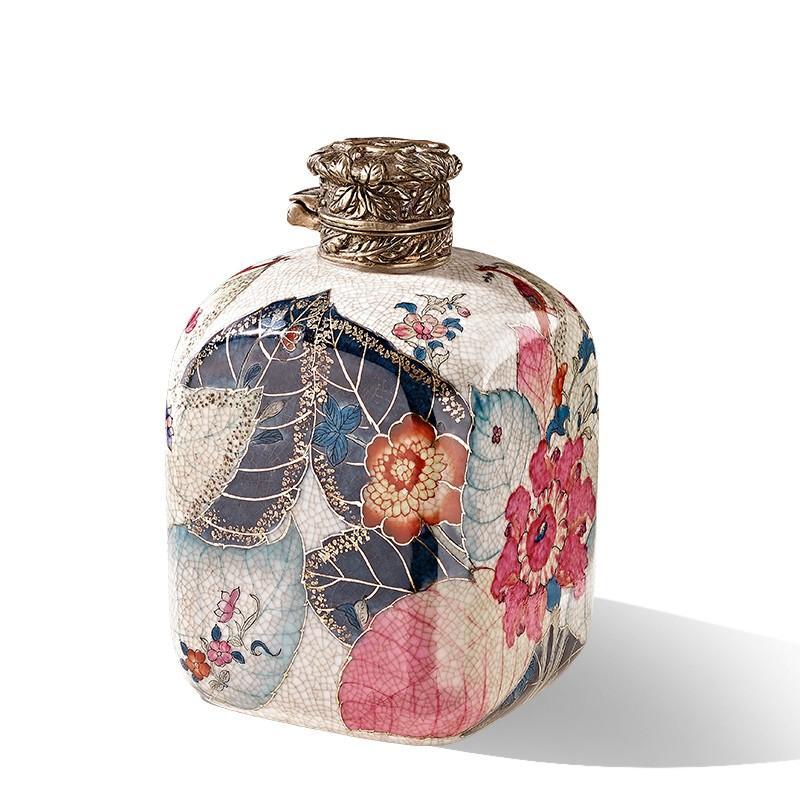 卡诗兰诺欧式陶瓷配铜创意茶叶罐高档家居客厅装饰储