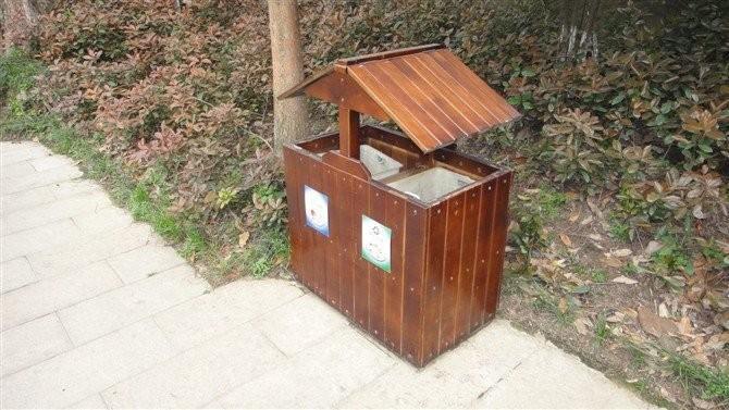 防腐木垃圾桶 小区果皮箱