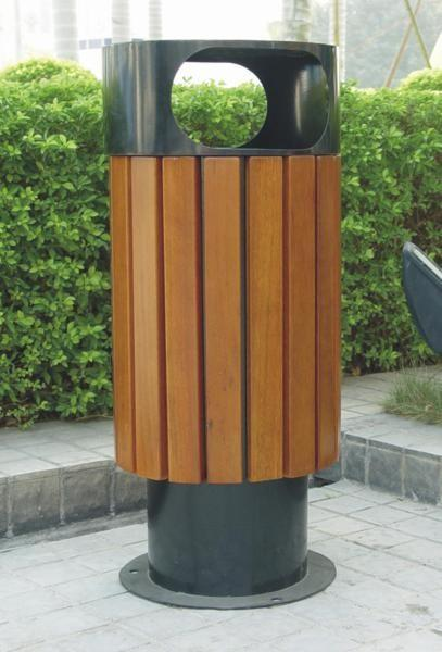 青海垃圾桶厂热销圆筒形木质公园果皮箱
