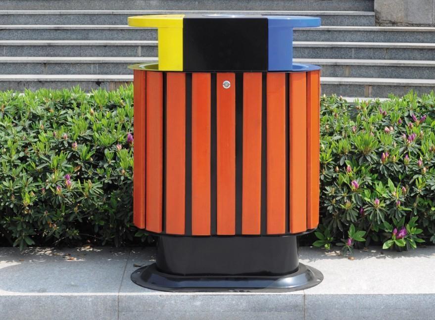兰州环卫供应钢木分类垃圾桶/垃圾箱/环卫箱/保洁桶