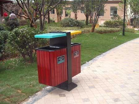 四川垃圾桶厂家直销方形立柱式钢木分类垃圾桶