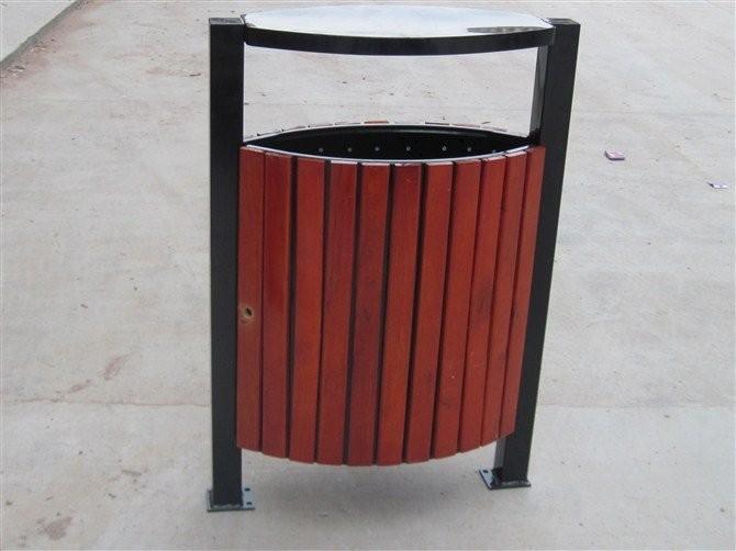 方形钢木垃圾桶