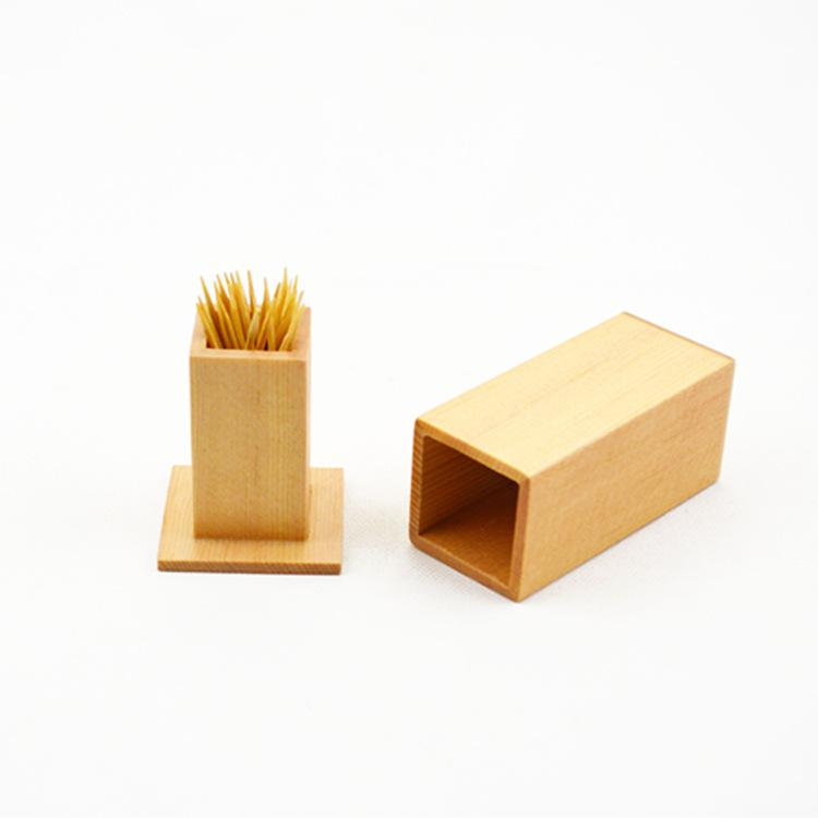 新品上架 木质牙签罐 云杉木长方形立体牙签筒 木质小