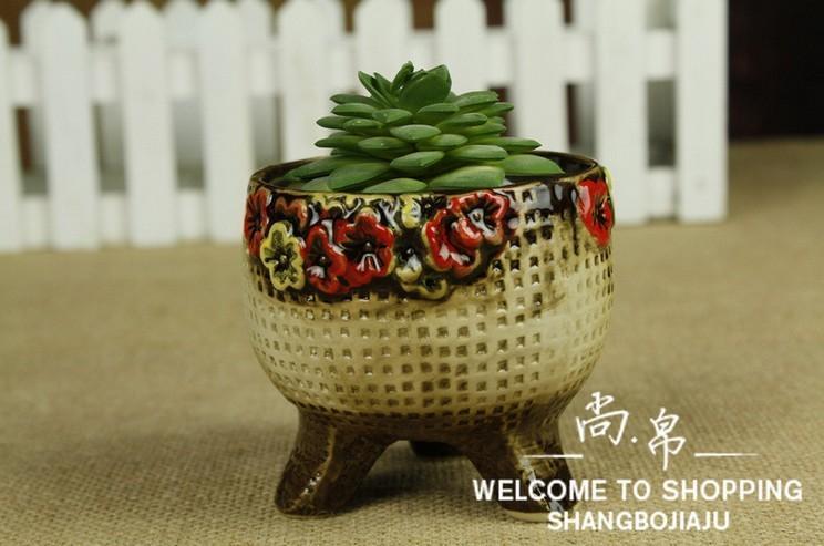 zakka韩式手绘多肉植物花盆